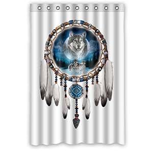 attrape r ves loup art animal anti moisissure pour salle de bain en tissu polyester 48 x 72 cm. Black Bedroom Furniture Sets. Home Design Ideas