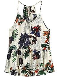 ROMWE Damen Sommer Trägertop mit Blumen Muster Aufdruck V-Ausschnitt Vest Tank Top Shirt