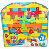 Shanaya Toys 76 Pieces Building Blocks With Stickers For Kids (Multicolor Big Size Blocks)