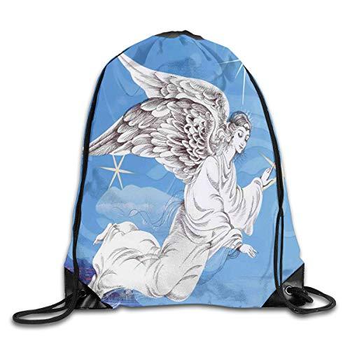 Angel Wings Duvet Cover Set Pastel Wings Doodle Cute Girls Romantic Valentines Day Eros Cupid,Lavender Blue Dried Rose_2Sport Yoga bag