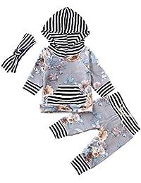 Hut Outfits Set Heligen/_Baby Abstand Kleidung 3 St/ück Neugeborene Kleidung Baby Junge M/ädchen Feder Baumwolle T-Shirt Tops Gestreifte Hosen