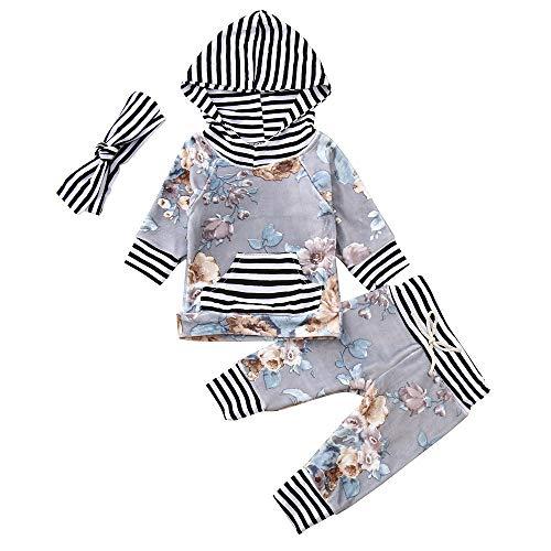 Säugling Baby Oberteile Hosen Set feiXIANG Jungen Mädchen Poloshirts Lange Hülsen Blumen Gestreifte Oberseiten Kleidung(Schwarz,100)