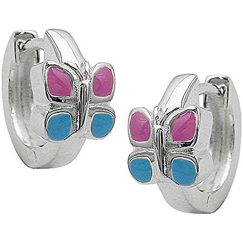 ASS 925argento bambini orecchini a cerchio cerchi farfalla 12mm rosa/blu - Farfalla Del Cerchio