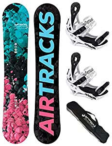 AIRTRACKS LADY SNOWBOARD SET - BOARD POLYGONAL 154 - SOFTBINDING SAVAGE W M - SB BAG