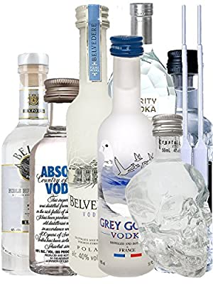 Vodka Probierset jew. 1 x 5cl Beluga Noble, 5cl Belvedere Polen, 4cl Rushkinoff Vodka & Caramel, 5cl Crystal Head, 5cl Purity Vodka, 4cl Three Sixty, 5cl Absolut Blue + 2 Einwegpipetten