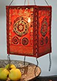 Guru-Shop Lokta Papier Hänge-Lampenschirm, Deckenleuchte aus Handgeschöpftem Papier - Mandala Rot, 28x18x18 cm, Papierlampenschirme Quadratisch