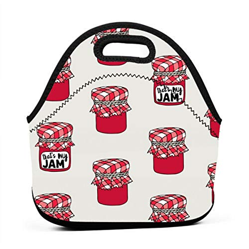 That's My Jam Red Neoprene Lunch Bag with Cutlery Case for Thermal Thick Lunch Tote Bag for Adults,Kids (Space Jam Kids 11)