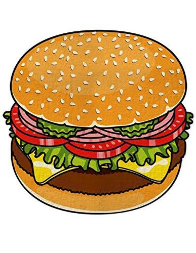 Ducomi ibiza - telo antisabbia rotondo donna uomo bambini - ideale per spiaggia, pic-nic, casa, piscina o copri costume - tovaglia con fantasie divertenti colorate - Ø 150 cm (hamburger)