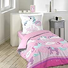 Douceur d'Intérieur juego con funda de almohada (algodón, 140x 200cm), multicolor, diseño de unicornio