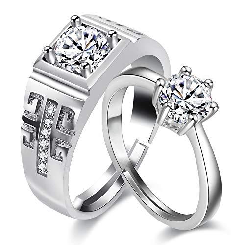 Uloveido Frauen und Männer 2 Silberfarbe einstellbar Engagement Versprechen Ringe Set für Paare, Mädchen und Jungen, Ehering Infinity Ringe Set Weißes Gold überzogen für Frau Mann Geschenk LB025 - Gold Ring Herren Versprechen