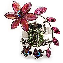 Anillo estilizado rana de cristales verdes con flores (acabado de metal plateado)