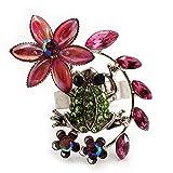 Extravagant, Grün, Kristall-Frosch mit Blumen-Ring (Silberblech-Finish) - Verstellbar Größe 7/8