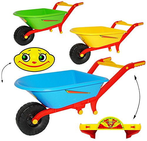 """Preisvergleich Produktbild 2 Stück _ Schubkarren - """" BUNTER Farbmix """" - aus Kunststoff - mit Plastik Reifen & Kunststoffwanne - Gartenwerkzeug - """" KNACKS SOUND """" - Kinder - Gärtner - Mädchen & Jungen - Plastikschubkarre / Kunststoffschubkarre - Kinderschubkarre mit Tacho Anzeige - Gartenschubkarre - sehr stabil ! - Sandspielzeug - Gartengerät - bunt"""