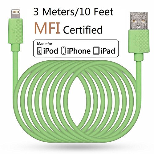 LP 3 Meter Lange Lightning Kabel (Apple MFi zertifiziert) Daten Sync und Ladung Ladekabel für iPhone iPad iPod iOS High Lebensdauer Verstärkt Schnelles Laden USB Handy Akku Datenkabel - Grün
