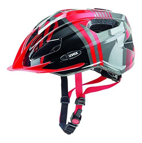 UVEX Kinder Quatro Junior Mountainbikehelm, Red-Anthracite, 50-55 cm