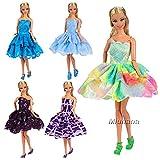 Miunana 5 Sets Fashionistas Ballkleid Abendkleid Kleidung Kleidchen Kleider Cocktailkleid Minikleid für Barbie Puppen