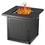 TACKLIFE Feuerstelle, Gas Feuertisch 50,000 BTU 71x71x69CM, Outdoor-Begleiter, Selbstzündungs-Feuertisch mit Abdeckung, CSA-Zertifizierung, als Tisch im Sommer, Ofen im Winter