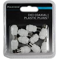 Maxview - Confezione da 10 connettori coassiali in plastica, per cavi coassiali da 5-7 mm, colore: Bianco