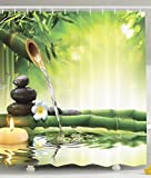 BBFhome Spa Dekor Badezimmer Zen Garten Dekor Ansicht für Badezimmer Magische Duschvorhang 150x180 cm Jasmin Blumen Japaner Entwurf Entspannung Dekorationen Grün Bambusse Gelb Kerzen
