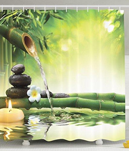 BBFhome Spa Dekor Badezimmer Zen Garten Dekor Ansicht für Badezimmer Magische Duschvorhang 150x180 cm Jasmin Blumen Japaner Entwurf Entspannung Dekorationen Grün Bambusse Gelb Kerzen (Marvel Zombies Youtube)