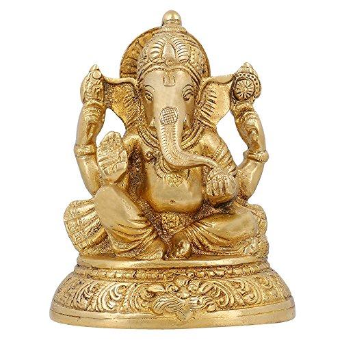 Articoli religiosi indiani Décor Ganesha Statua Brass tempio indù Puja 5 pollici