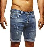 LEIF NELSON Pour des hommes Jeans Shorts LN1397; W32; bleu
