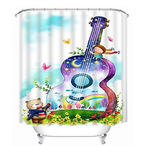 DOLDT1 Música Impreso Cortina Ducha 180 x 180 cm