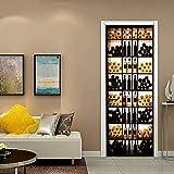 PVC Adhesivo Fotográfico Pegatina Enfriador De Vino Retroiluminado Vinilos Decorativos para Puerta Pared Cocina Sala De Baño 77X200cm