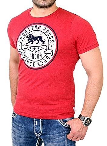 Lonsdale T-Shirt Herren WROTHAM Slim Fit Shirt LD-114742 Rot M