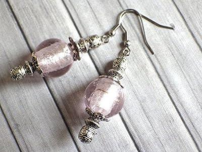 Boucles d'oreilles Thurcolas de la gamme Venezia en perles de verre de Murano rose