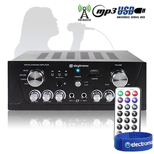 Skytronic Black Home Cinema Hifi Karaoke Amplifier FM/USB/SD/MP3 Remote Control