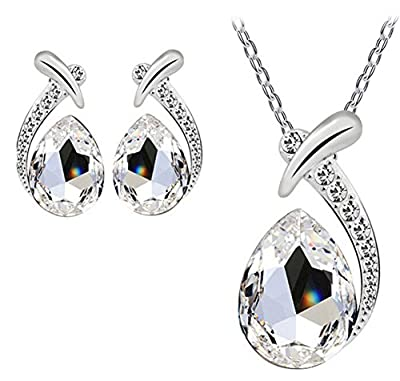 Hosaire Fashion Necklace Earrings Bracelet Tears of Angels Diamond Crystal Elegant Women Jewellery Set of Crystal Pendant Necklace+Earrings from Hosaire