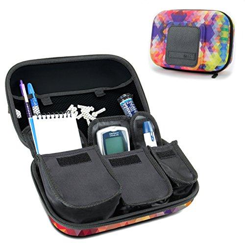 USA GEAR Organizador de Medicamentos de Viaje para Suministros para Diabéticos - Asimientos Sistema de Monitoreo de Glucosa, Jeringas, Viales de Insulina, Lancetas y más - Geométrico