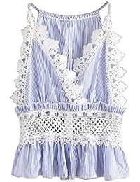 LILICAT Frauen Chic Shirt V-Neck Tank Top Streifen Spitze Casual Bluse Damen Mode Crop Top Ärmellos Weste Vintage Hemd Cami Top