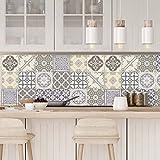 Carreaux de ciment adhésif mural - azulejos - 10 x 10 cm - 9 pièces