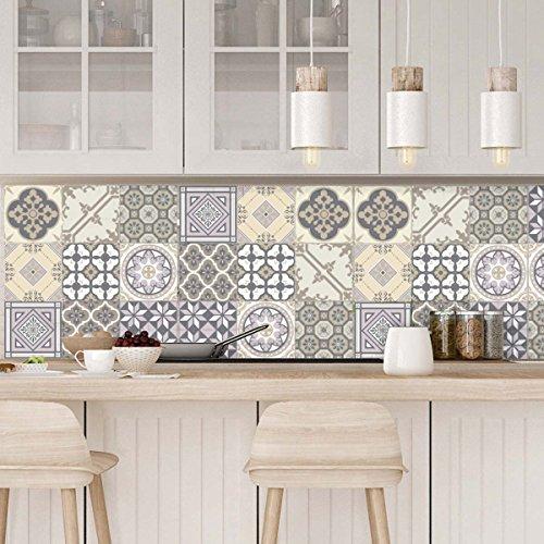 Ambiance-Live Carreaux de Ciment adhésif Mural - azulejos - 10 x 10 cm - 9 pièces