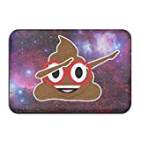 Suave y antideslizante–dabbing caca Emoji con gafas de color rojo alfombrilla de baño Coral alfombra alfombrilla de puerta entrada alfombra alfombrillas para frontal exterior puerta entrada alfombra 40x 60cm.