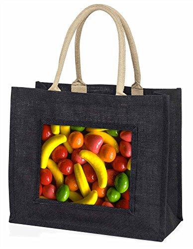 Fruchtbonbons Große schwarze Jute -Einkaufstasche Weihnachtsgeschenk