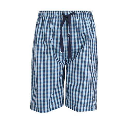 GÖTZBURG Herren Bermuda, Baumwolle Popeline, blau, kariert, mit Eingriff M (Popeline-hose)