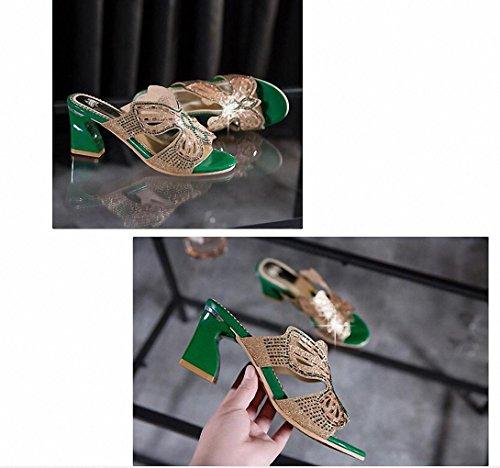 Dick mit hochhackigen Sandalen und Pantoffeln Diamant Art und Weise der Frauen Frühling und Sommer-Frauenschuhe Hausschuhe Green