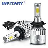 InfitaryLampadine faro H4 / H7 LED Faretto Hi / Lo, proiettore auto, luce testa a doppio fascio, 72W 6500K 8000LM Kit eccellente di conversione dei chip di COB per Car- 1 paio - 1 anno di garanzi (H7)