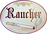 Schild Türschild aus Holz RAUCHER für den Raucherbereich im Antik Design