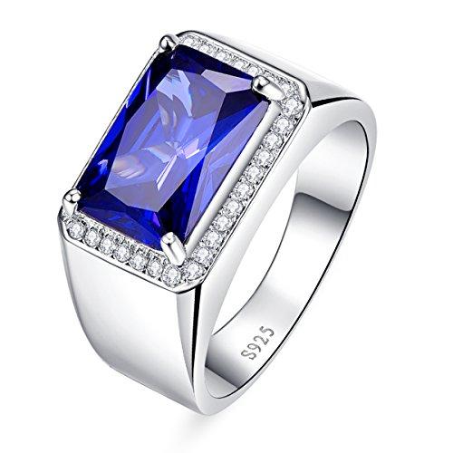 Bonlavie Herren -  925 Sterling-Silber  Sterling-Silber 925 Brilliant Rund emerald shape   G-H Saphir Oxyde de Zirconium (Emerald Herren Ring)