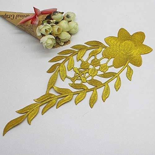 AiCheaX Lace Crafts - Eisen auf/Nähen gestickte Patches Cosplay Kostüme Applikationen Gold und Silber Trimes 12cm29.5cm - (Farbe: Gold) -