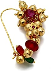 Meenaz Maharashtrian Nose Rings White Ruby Gold Stone Nath Gold Pearl Bead For Women Girl- 111