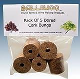 Home Brew & Winemaking - Balliihoo® Bored Cork Bungs To Fit Standard 1 Gallon Demijohn - Pack Of 5