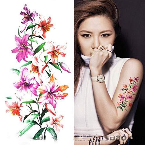 Ljmljm 3 pezzi adesivo tatuaggio impermeabile blu rosa peonia fiore tatto tatoo gamba braccio mano piede tatuaggio per ragazza donna donna