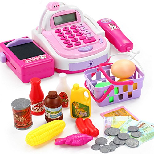 BANDRA Supermarktkasse mit Scanner Kinder Pretend Play Spielzeug Kasse Registrierkasse Kassenstation Elektronischem Rechner Küchenspielzeug für Kinder