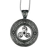 DarkDragon Anhänger keltische Triskele im Kreis Dreierwirbel Flechtwerk 925er Silber Schmuck Schutzamulett mit Kette Halskette Silberkette 5400