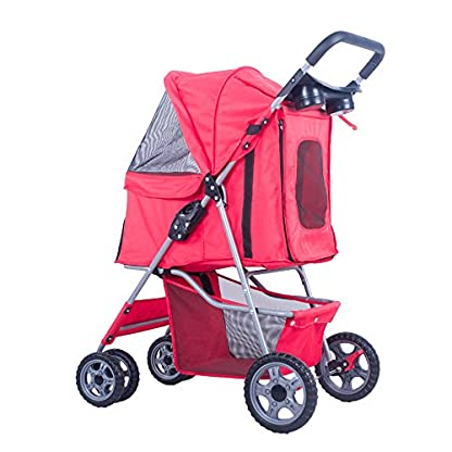 BTM Pet Travel Stroller Dog Puppy Pram Jogger Cat Pushchair with 4 Swivel Wheels (Red) 4